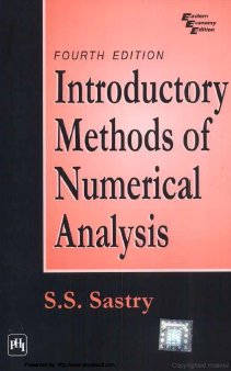 Numerical Analysis SS Sastry pdf Download 4th Edition