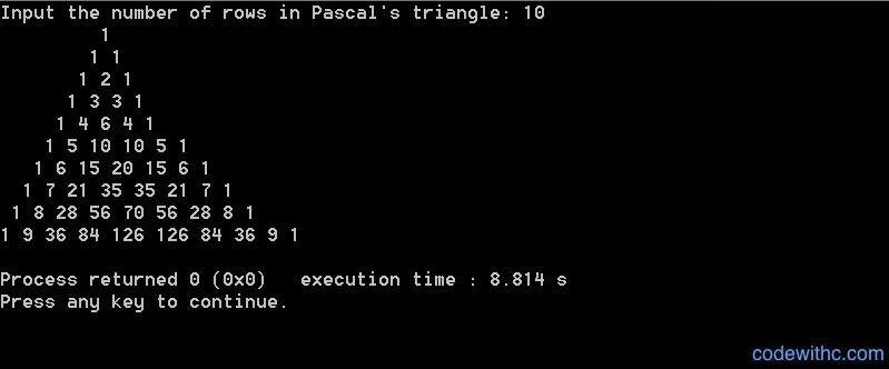 C Program for Pascal's Triangle | Code with C