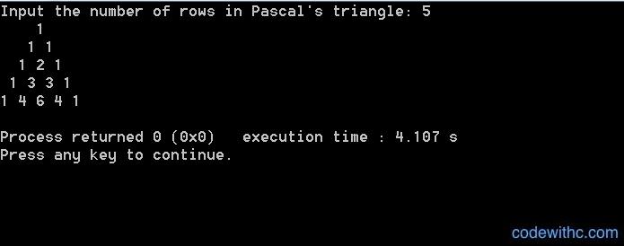 C++ Program to Print Pascal Triangle