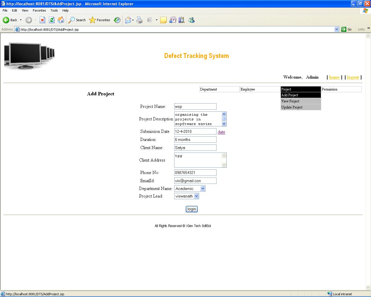 project tracking system