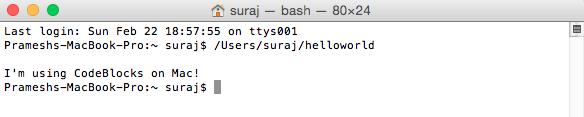 Using Code::Blocks on Mac