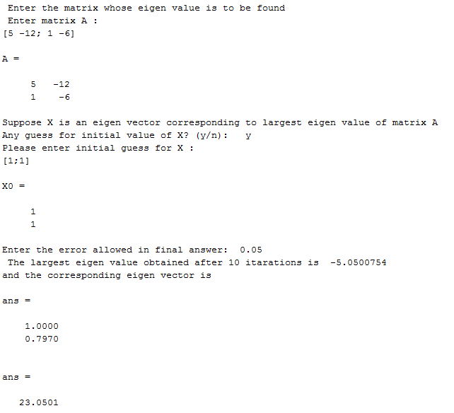 Power method in MATLAB - Output