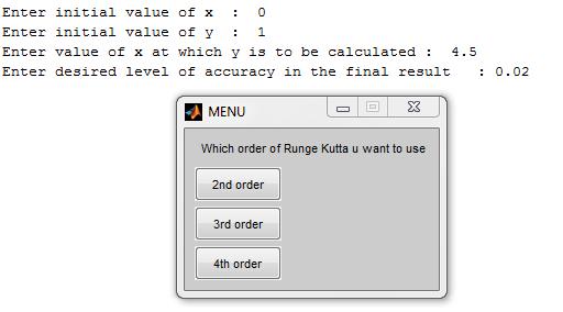 Runge Kutta method in MATLAB - Select Order