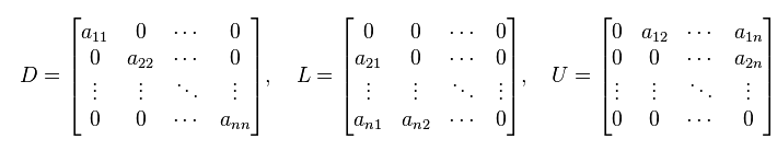 Successive Over-Relaxation Method - Matrices D, L, and U