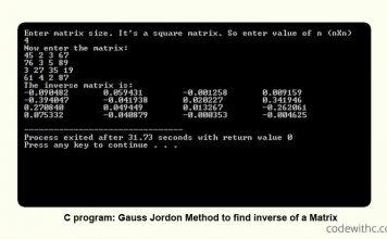 Learn C program: Gauss Jordon Method to find inverse of a Matrix