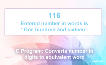 C Program: Converts number in digits to equivalent word