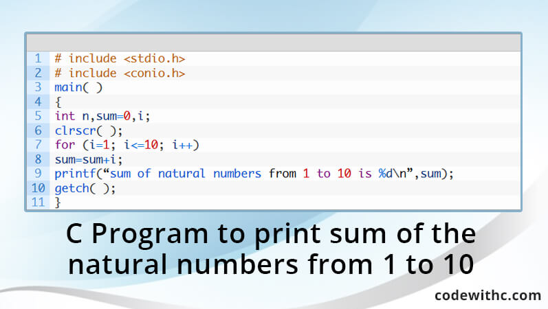 c-program-print-sum-natural-numbers-1-10