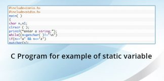 C Program for example of static variable
