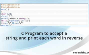 C Program to accept a string and print each word in reverse