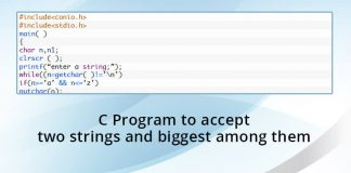 C Program to accept two strings and biggest among them