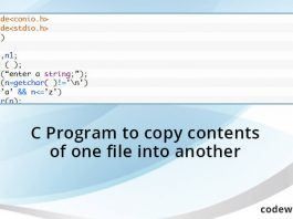 C Program to copy contents of one file into another