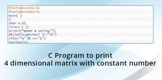 C Program to print 4 dimensional matrix with constant number