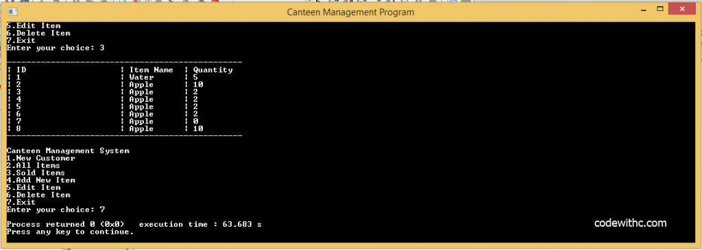 C++ Program: Canteen Management System in C++ and MySQL University of America