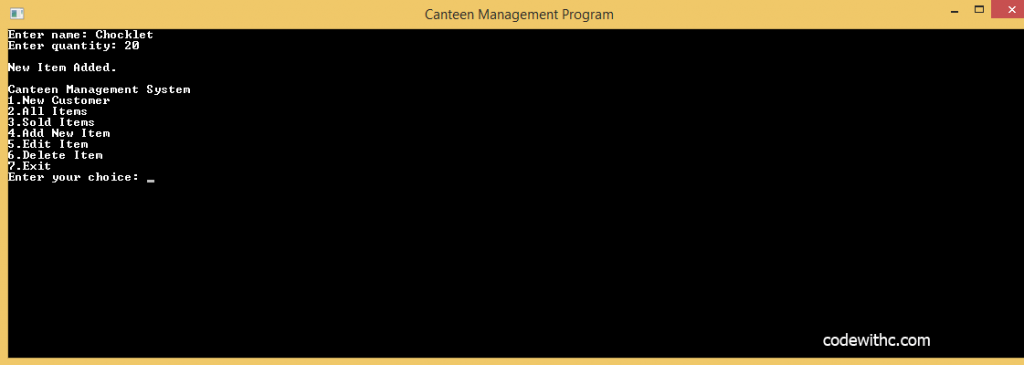 University of America C++ Program: Canteen Management System in C++ and MySQL