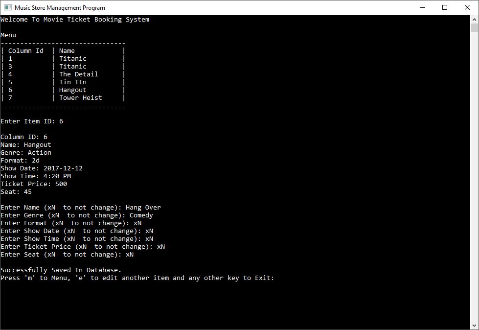 Movie Ticket Booking System in C++ with MySQL
