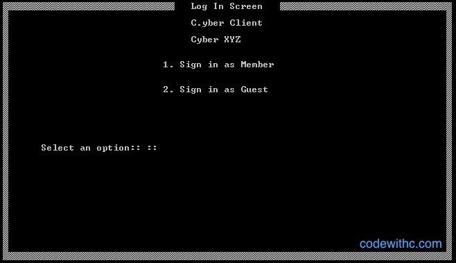 Cyber Cafe Management System in C - Client Log In
