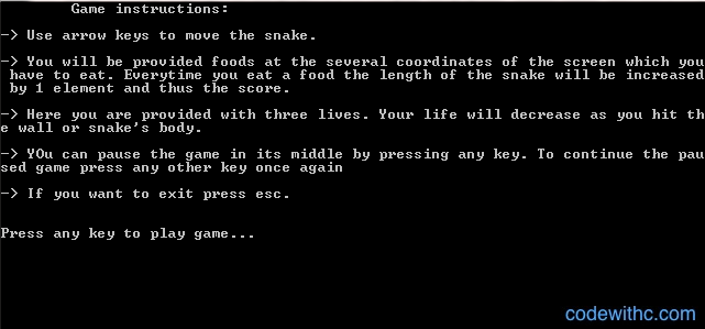Snake Game in C Instructions