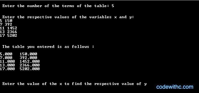 C Program for Lagrange Interpolation | Code with C