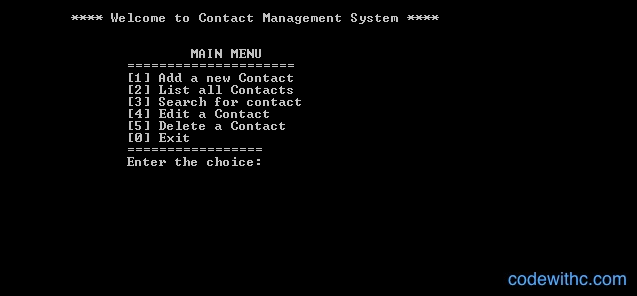 Mini Project in C Contact Management System - Main Menu