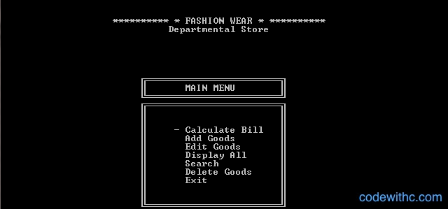 Mini Project in C Department Store Management System - Main Menu