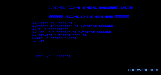 Output of Mini Project in C Bank Management System