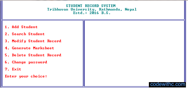 Mini Project in C Student Record System - Welcome Screen