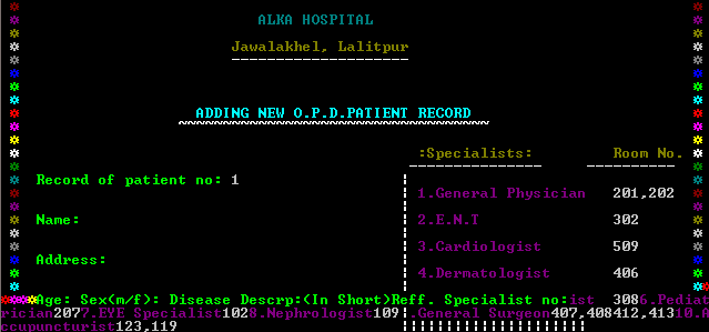 Add New Patient Record in Hospital