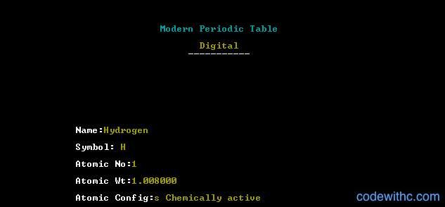 Modern periodic table c project code with c search element modern periodic table mini project element urtaz Choice Image