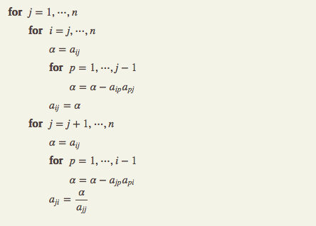 LU Factorization Algorithm - Crout's Method