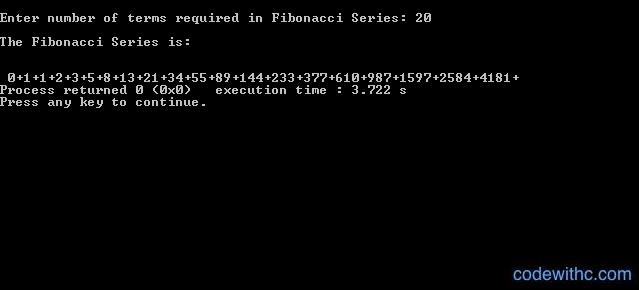 Fibonacci Series in C - Output