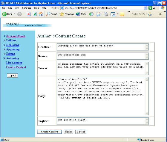 Content Management System Software in ASP.NET