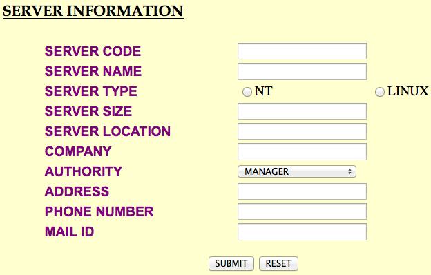 Web Server Management Project in Java Server Information