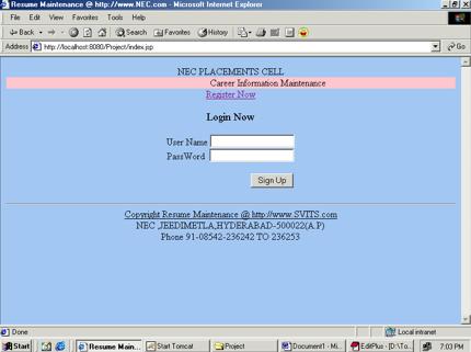 Career Information Management System Project