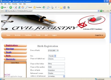 Civil Registration System Project birth registration