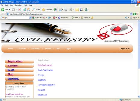 Civil Registration System Project services
