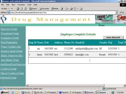 Drug Management System Project employee details