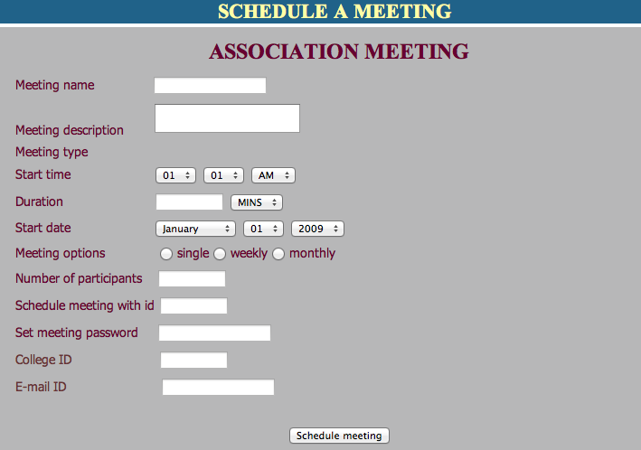 Event Management System Project meeting schedule