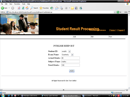 Student Result Processing System Project add report card