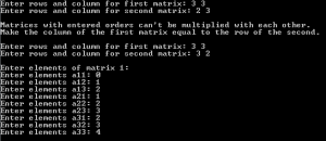 Matrix Multiplication in C using function