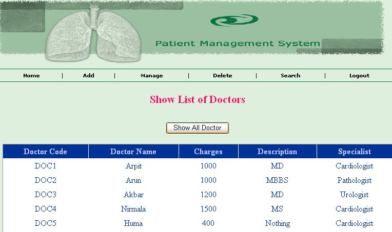 Patient Management System Project in ASP.NET - doctors list