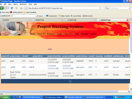 Planning and Tracking System Project in ASP.NET
