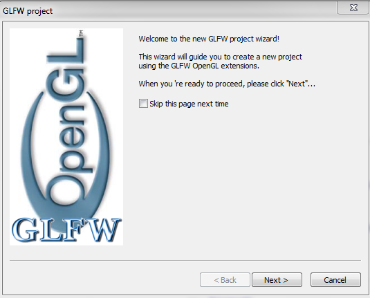 GLFW Project Welcome Screen