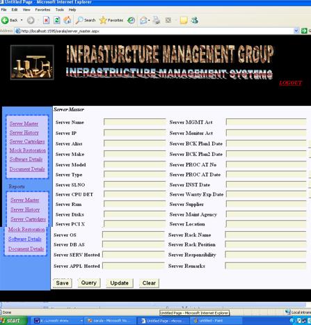 Server Master of Infrastructure Management System