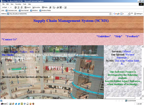 Home Page of Supply Chain Management System