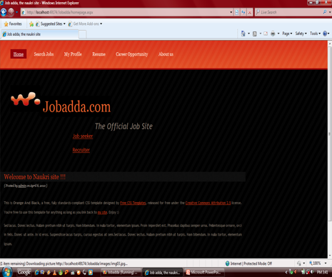 "Online Job Portal ""Jobadda"" Home page"