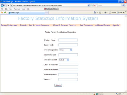 Factory Statistics - Accidents and Inspections