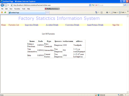 Factory Information - List of Factories