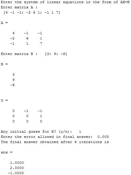Gauss-Seidel method in MATLAB - Output