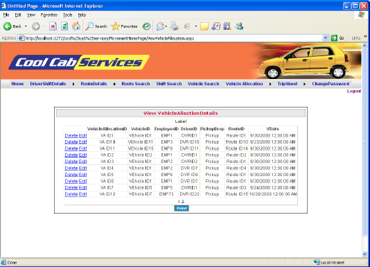 Cab Management System - View Vehicle Allocation Details