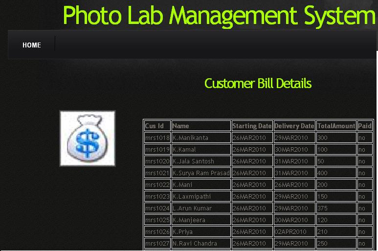 Photo Lab Management System - Customer Bill Details